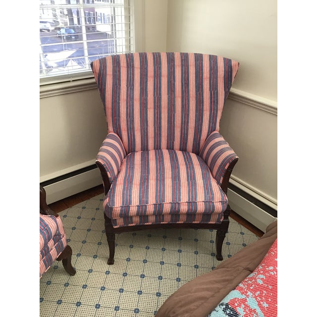 Antique Chairs With John Robshaw Vintage Stripe Cora Fabric - a Pair For Sale - Image 11 of 13