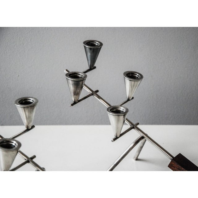 Metal 1960 Carl Christiansen Silverplate and Rosewood Candleholders Denmark - Pair For Sale - Image 7 of 11