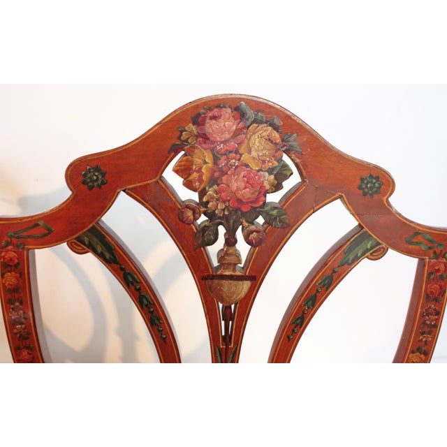 Wood Pair of Painted Edwardian Satinwood Shield Back Chairs For Sale - Image 7 of 9