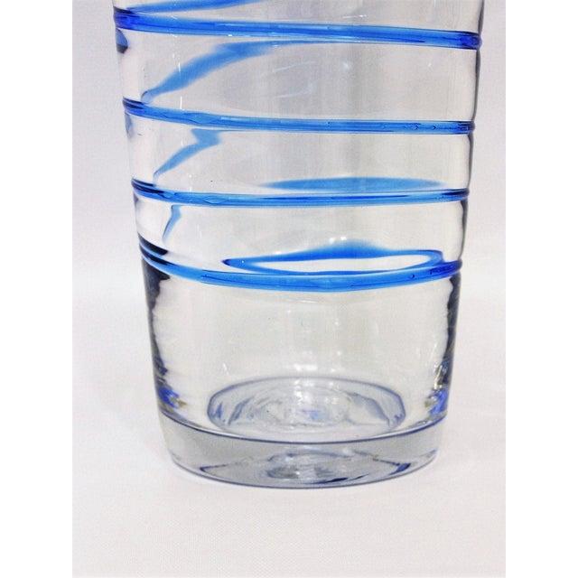 Monumental Transparent & Blue Glass Vintage Blenko Vase Large Mid-Century Modern MCM For Sale In Miami - Image 6 of 10