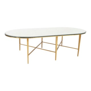 American 1940s Bronze Base Oval Shaped Coffee Table For Sale