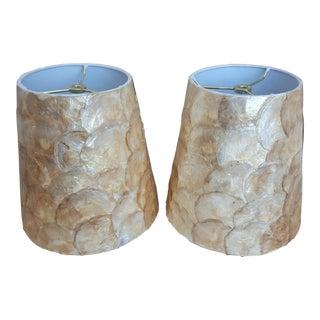 A Pair- Designer Capiz Shell Lampshades