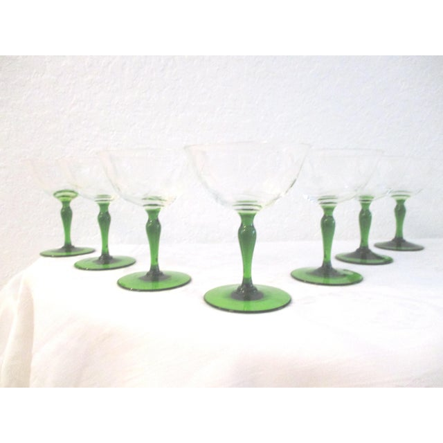 1940s Victorian Emerald Green Floral Etched Wine Glasses - Set of 7 For Sale - Image 4 of 4