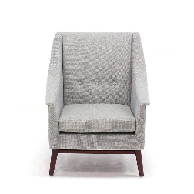 Gray Vintage Mid Century Newly Upholstered Danish Modern Lounge Chair For Sale - Image 8 of 9