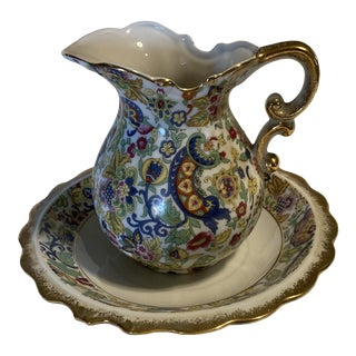 1970s Lefton Chintz Pitcher and Bowl - 2 Pieces For Sale