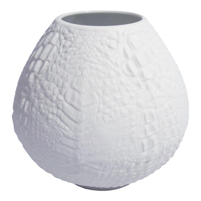 White Modernist Spherical Bisque Porcelain Vase with Crocodile Texture by A.K. Kaiser For Sale