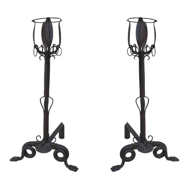 French Art Nouveau Iron Andirons- A Pair For Sale