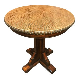 Safari Leather Top Table With Oversized Nailhead Detail For Sale