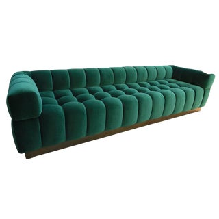 Adesso Imports Custom Tufted Green Velvet Sofa With Brass Base For Sale