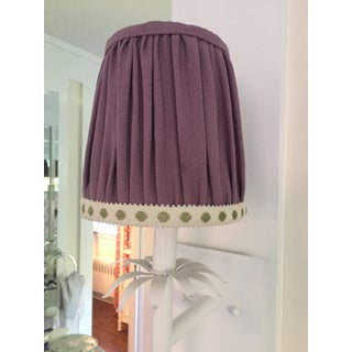 Gathered Lavender Linen Sconce Lamp Shade With Citron Dot Tape Trim Preview