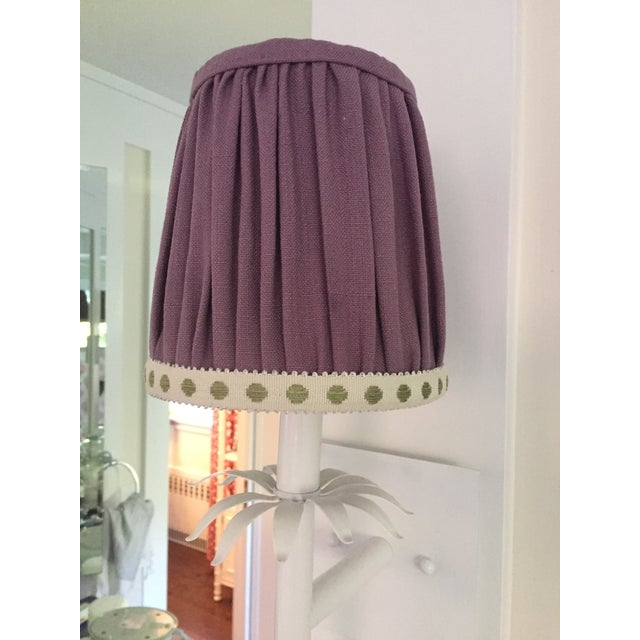 "Lovely professionally fabricated gathered sconce shade in Clarke & Clarke ""Amethyst"" Purple Linen. Trimmed in a citron-dot..."