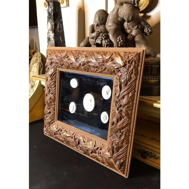 Antique Italian Grand Tour Plaster Cameo and Intaglio Arrangement, Framed For Sale In Los Angeles - Image 6 of 12