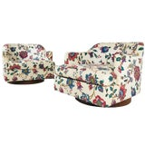 Image of Pair of Floral Swivel Chairs in the Style of Milo Baughman. For Sale