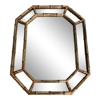 Mid Century Gold Faux Bamboo Mirror For Sale