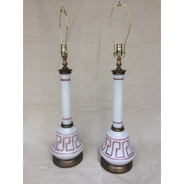Geek Key Opaline Glass Lamps - A Pair - Image 2 of 5