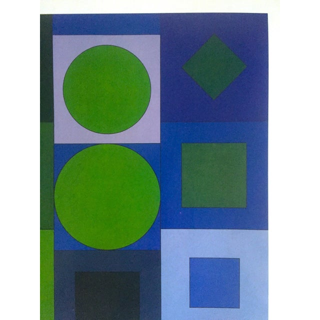 "Victor Vasarely Vintage Op Art Modernist Geometric Lithograph Print "" Alphabet v.b. "" 1960 For Sale In Kansas City - Image 6 of 13"