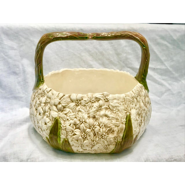 1980s Vintage Ceramic Floral Basket For Sale - Image 9 of 9