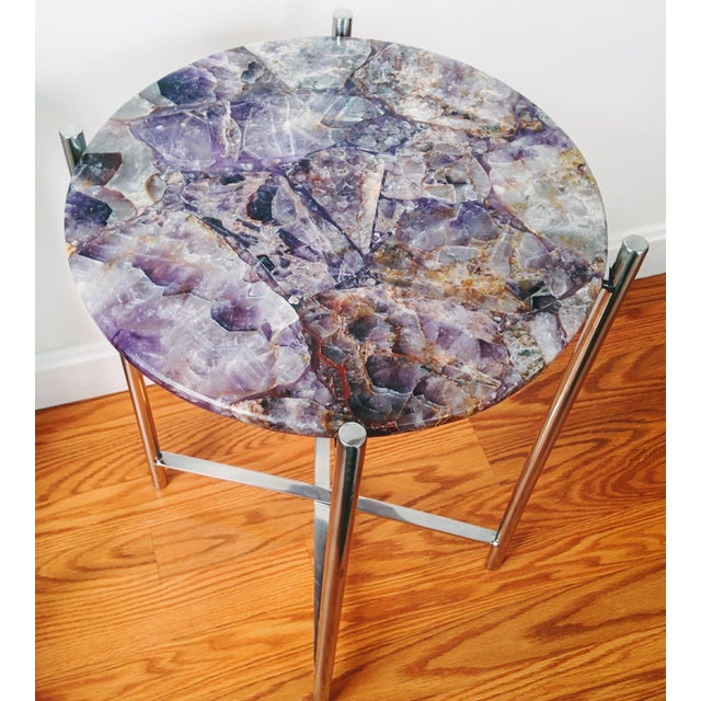 Lavender Amethyst & Chrome Side Table - Image 2 of 9