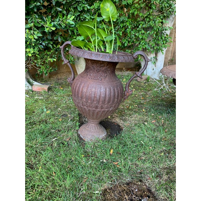 Antique Iron Urn With Handles For Sale In Los Angeles - Image 6 of 6