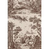 Image of Schumacher Colonial Williamsburg Collection Jones Toile Sepia Color Wallpaper - 1 Double Roll For Sale