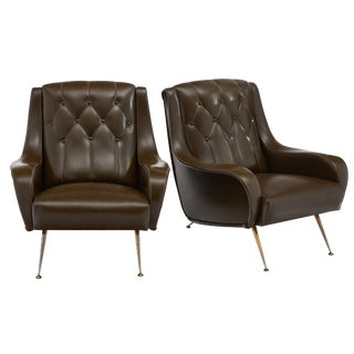 Vintage French Modernist Brown Vinyl Armchairs - a Pair For Sale
