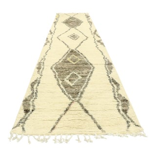 Contemporary Moroccan Rug, Shag Hallway Runner - 02'08 X 12'03 For Sale