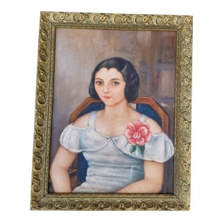 Mexican Art Deco Beauty Oil Portrait