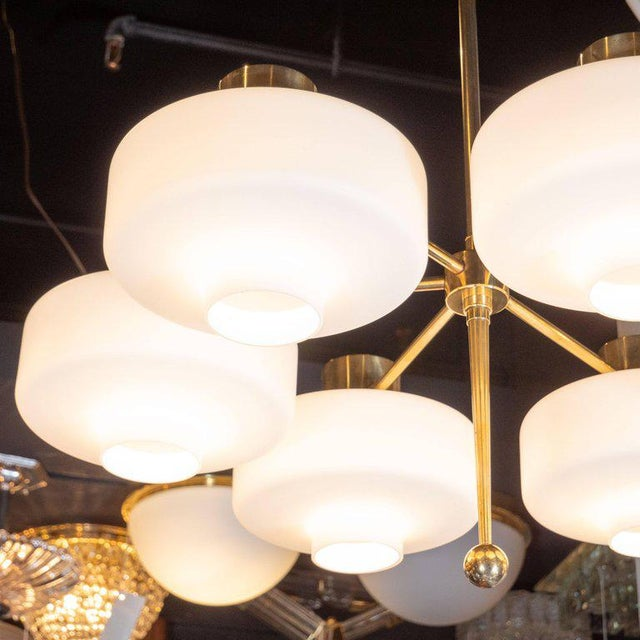 1960s Scandinavian Mid-Century Modern Six-Arm Brass and Frosted White Glass Chandelier For Sale - Image 5 of 9