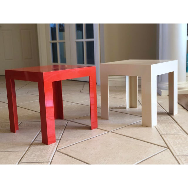 Modern 1970s Modern Parsons Fiberglass Red and White Side Tables – a Pair For Sale - Image 3 of 6