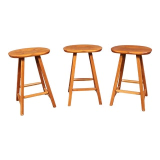 Hunt Country Rustic Style Cherry Counter Stools , Set of 3 For Sale