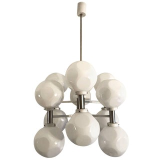 Italian 1970s Mod White Enamel and Case Glass Shade Chandelier For Sale
