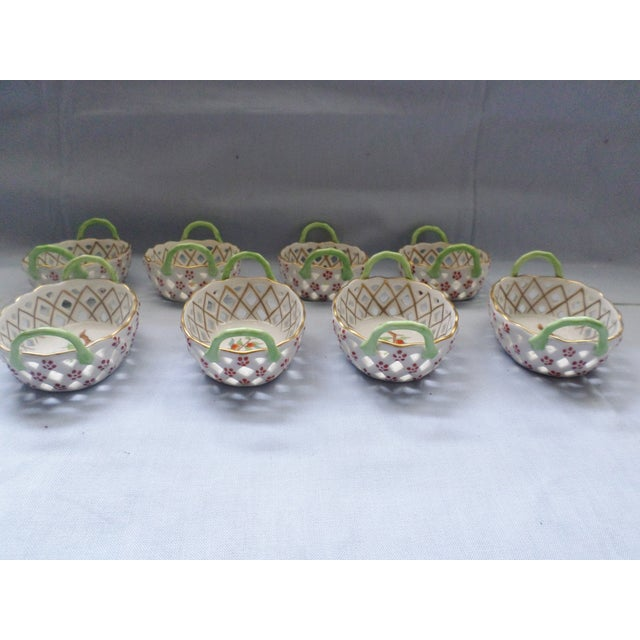 Traditional Vintage Herend Hungary Porcelain Lattice & Cherry Design Individual Nut or Sweetmeat Baskets - Set of 8 For Sale - Image 3 of 12