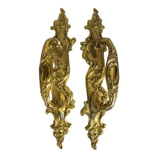 Vintage Ornate Brass Door Pulls - a Pair For Sale