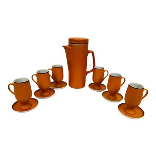 1960s Lagardo Tackett Espresso Carafe and Demitasse Cups - Set of 7 For Sale