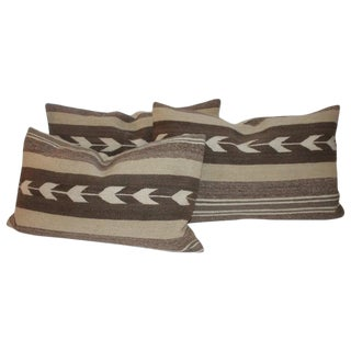 Navajo Indian Weaving Arrows Pattern Pillows - Set of 3 For Sale