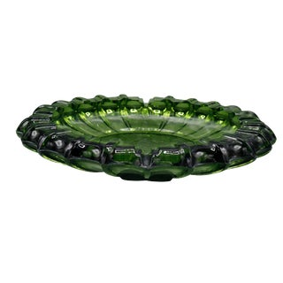 1970s Mid Century Art Glass Green Ashtray For Sale