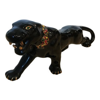 Mid Century Modern Black Panther Figurine For Sale