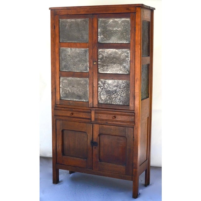 Antique Walnut/Pine 10 Punched Tin Panel Pie Safe Cabinet For Sale - Image 10 of 10