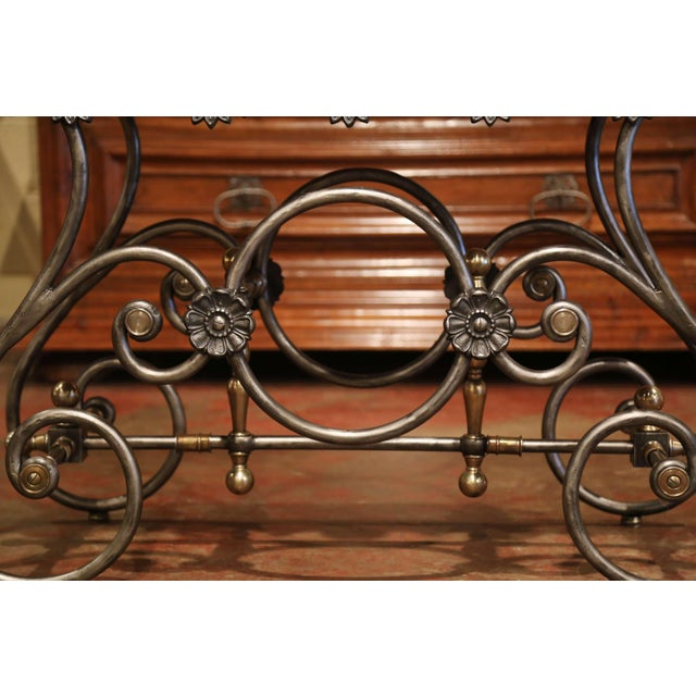Gold Late 20th Century French Polished Iron Pastry Table With Red Marble Top For Sale - Image 8 of 11
