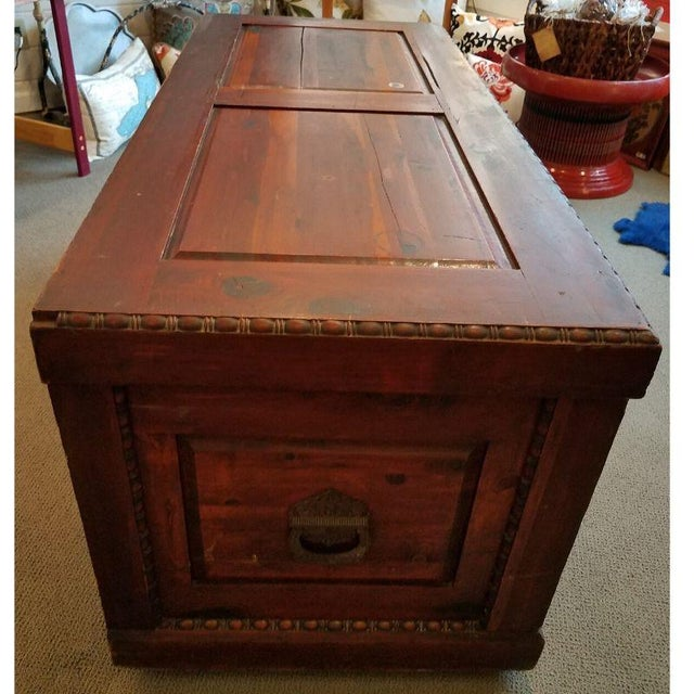 Late 19th Century 19th Century Antique Victorian Carved Panel Cedar Chest For Sale - Image 5 of 12
