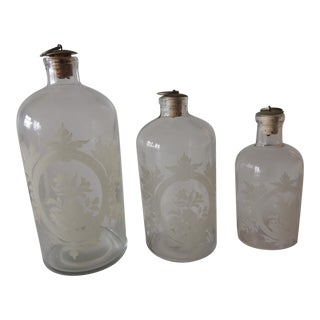 Set of (3) Apothecary Glass Bottles For Sale