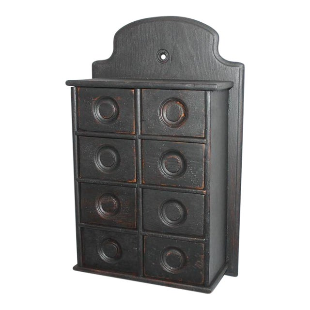 19th Century Black Painted Spice Box For Sale