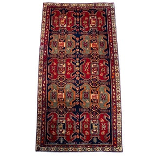 1930s Vintage Hand-Tied Persian Meshkin Runner- 4′6″ × 10′ For Sale