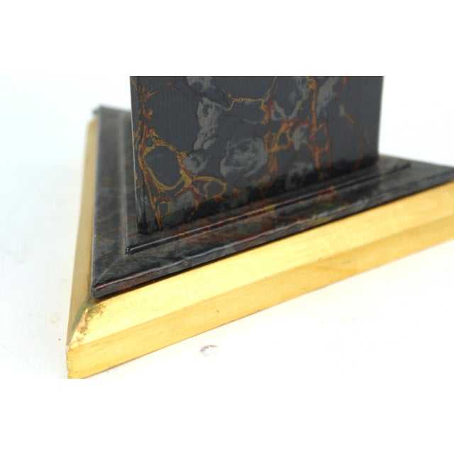 Paper Neoclassical Style Obelisks in Marbled Paper and Gold Foil - a Pair For Sale - Image 7 of 11