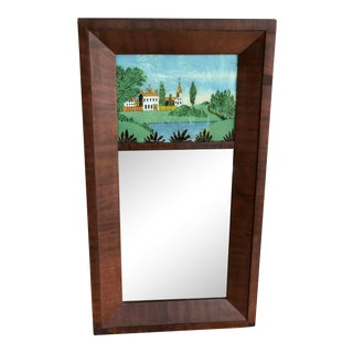 19th Century Empire Mahogany Eglomise Mirror For Sale
