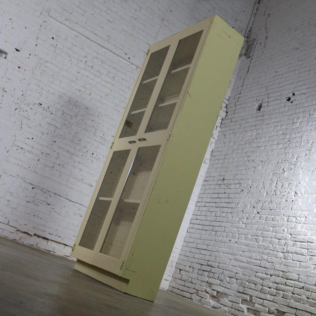 Industrial Metal 36 Inch Wide Display Cabinet or Bookcase With Glass Doors For Sale - Image 6 of 13