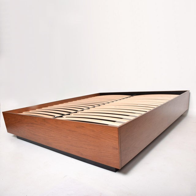 Contemporary Pablo Romo for Ambianic Custom Bed Frame Cal King Walnut Platform Frame For Sale - Image 3 of 9