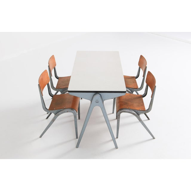 1940s Industrial Writing Desk Table With Chairs for Kids by James Leonard for Esavian For Sale - Image 5 of 13