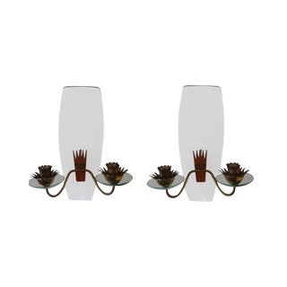 Italian Fontana Arte Attributed Curved Glass and Bronze Sconces - a Pair For Sale