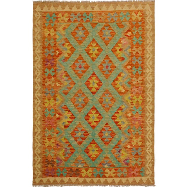 Green Era Red/Green Hand-Woven Kilim Wool Rug -4'3 X 5'10 For Sale - Image 8 of 8
